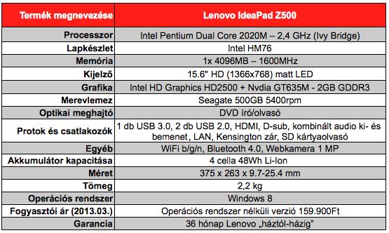 Lenovo IdeaPad Z500 teszt