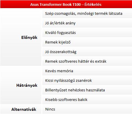 Asus Transformer Book T100 teszt