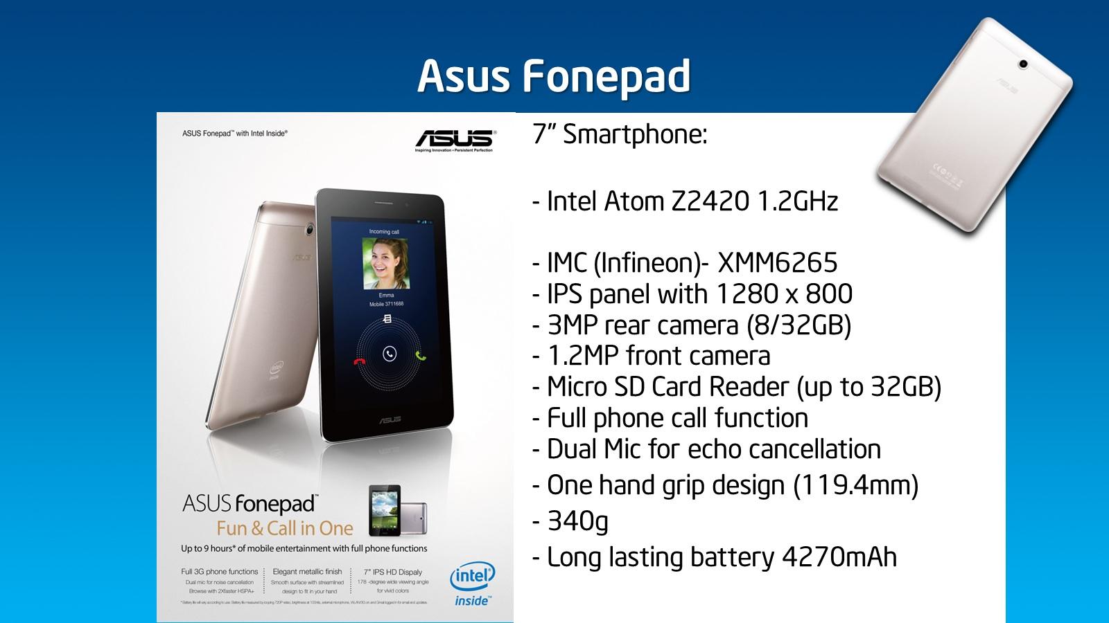 Asus Fonepad: Intel tablet, amivel telefonálni is lehet