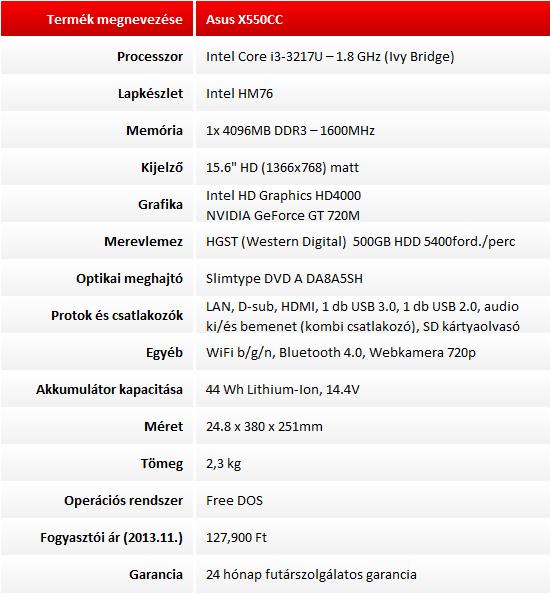 Asus X550CC XO229D teszt