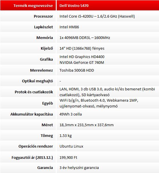 Dell Vostro 5470 teszt