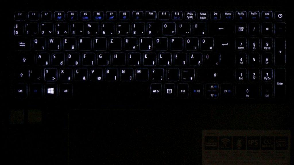 Acer Aspire 5 billentyűzet világítás
