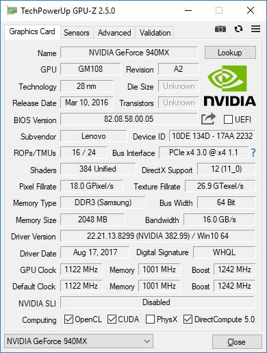 Lenovo T560 GPUZ