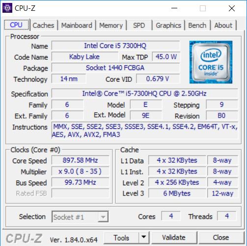 Dell Inspiron 7577 cpuz