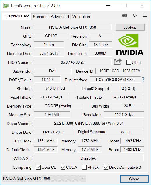 Dell Inspiron 7577 gpuz 1050
