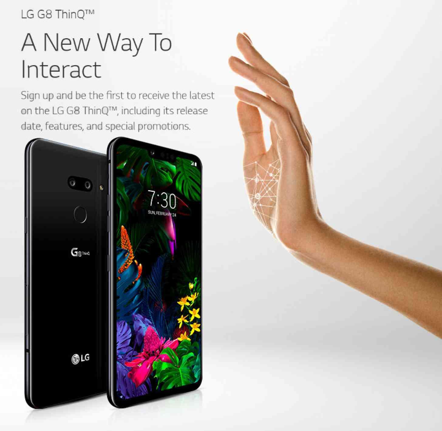 LG G8 ThinQ és a tenyér véna szkenner