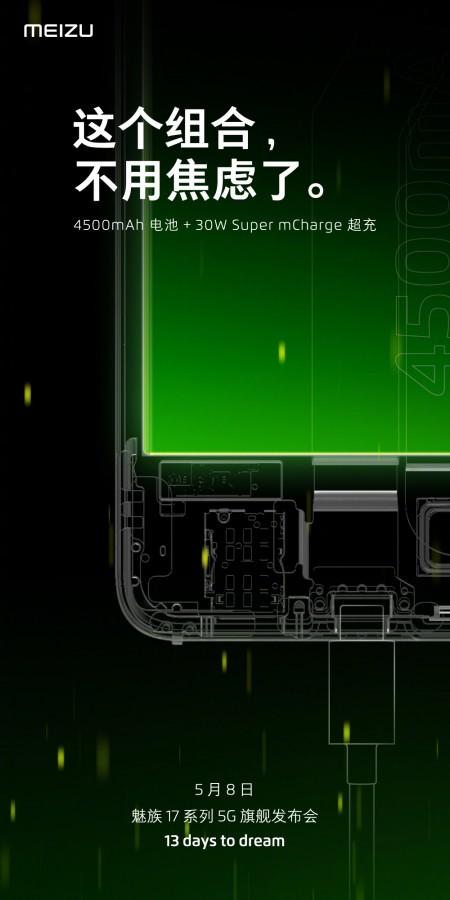 4500mAh-s akkumulátort fog kapni a közelgő Meizu 17